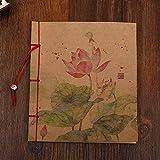 FHOMEY Cuaderno Diseño Tradicional Chino Antiguo Cuaderno Costura Encuadernación Papel Kraft Encantador Pequeño Viajero Diario Planificador Folios Regalo