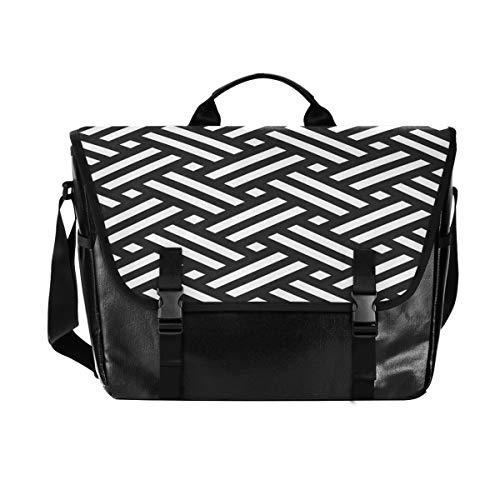 Staggered Stripe Weaving Canvas Postman Bag, Unisex 15.125 Inch Laptop, Retro Satchel, Business Briefcase, Shoulder Bag, Handbag