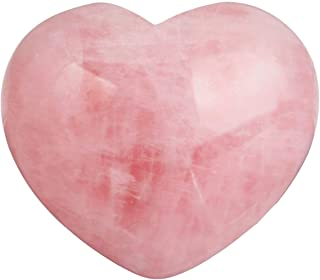 4Rissa Healing Crystal Natural Rose Quartz Heart True Love Carved Palm Prayer Circle Worry Stone Chakra Reiki Balancing