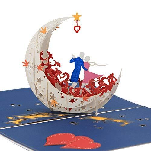 3D Pop Up Happy Anniversary card da un ballo della luna barca al bordo del mondo (Large size) – regali di anniversario per lei, carta di buon compleanno per moglie, Miss you San Valentino carta