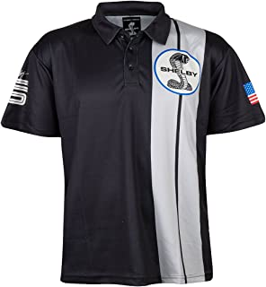 Shelby American Black Two Stripe Polo | Performance, Quick Dry, Moisture Wicking Fabric | Officially Licensed Shelby Product
