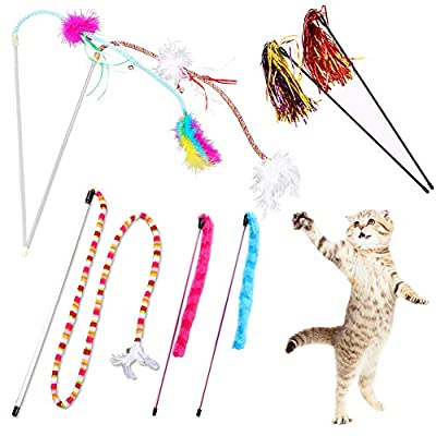 YINVA Cat Feather Toys Cat Wand Toys 7 Pcs Cat Teaser Wand Interactive Train Best Teaser Cat Toy with Assorted Feather for Indoor Cats Kitten