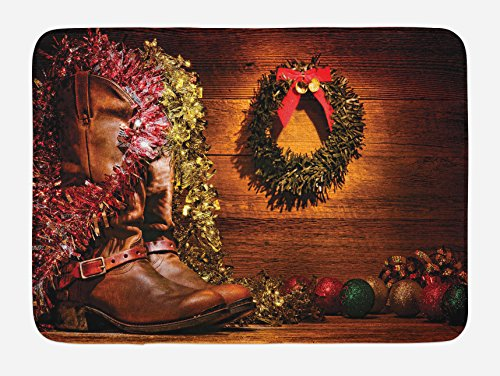 "Lunarable Western Bath Mat, Country Design with Cowboy Boots and Christmas Celebrations in a Vintage Cabin Lodge, Plush Bathroom Decor Mat with Non Slip Backing, 29.5"" X 17.5"", Brown"