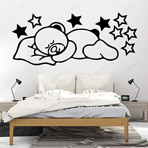 yaonuli Sleepy Bear Star Vinyl muursticker kinderkamer decoratieve muursticker slaapkamer muursticker