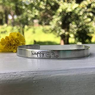 Happy Camper Aluminum Bracelet - Camping Gift Idea - Gift for VW lover - Unique gift idea - Personalized Bracelet - Gift for her under 20