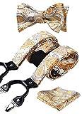 HISDERN Tirantes para hombres Tirantes de corbata Conjunto de panuelo de bolsillo ajustable con corbata de lazo ajustable amarillo