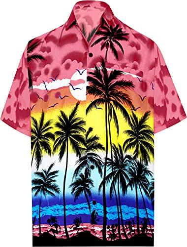 LA LEELA   Funky Camicia Hawaiana da Uomo   XS - 7XL   Maniche Corte   Tasca Frontale   Stampa Hawaiana   Estivo Estate Spiaggia Palme Rosso_W134 5XL - Torace (in CMS) : 167-172