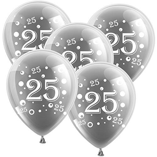 ballon boutique Villingen 10 Latexballons Silberne Hochzeit Zahl 25 Silber 30cm Durchmesser
