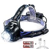 Stirnlampe LED USB Wiederaufladbare Kopflampe mit Sensor Wasserdicht Zoombar Stirnlampe für Laufen...