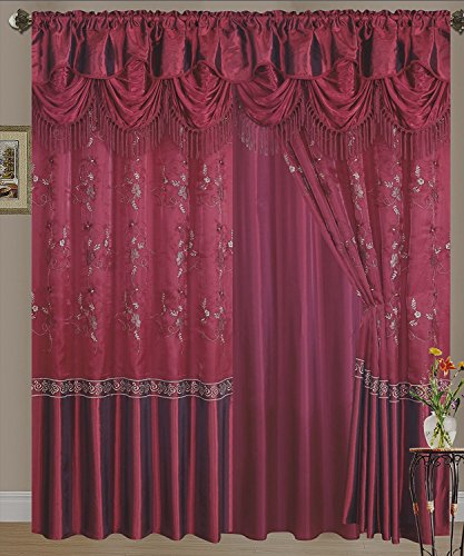 Fancy Collection Embroidery Curtain Set 1 Panel Burgundy with Gold Embroidery Drapes with Backing & Valance Monica New