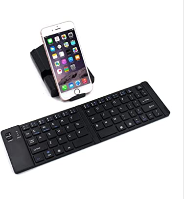 CZLABL Faltbare Bluetooth-Tastatur  Tragbare Kabellose Bluetooth-Tastatur Mit St nder  Wiederaufladbares  Kompatibles Ios-Android-Windows-Smartphone-Tablet Und Laptop Schwarz