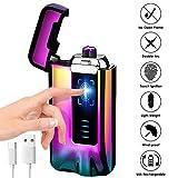KIMILAR Encendedor Eléctrico USB, Mechero Recargable, Doble Arco & Sensor Tactil & A Prueba de Viento & Impermeable & Sin Llama para Cocina Cigarrillos Velas (Vistoso)