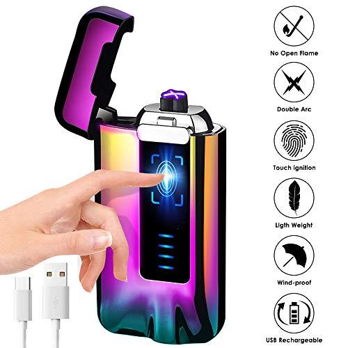 KIMILAR Elektro Feuerzeug USB, Lichtbogen Feuerzeug Berührungssensor Dual Aufladbar Winddicht Flammenloser mit USB-Kabel für Küche Grill Kerzen Zigaretten (Geschenkverpackung) (Bunt)