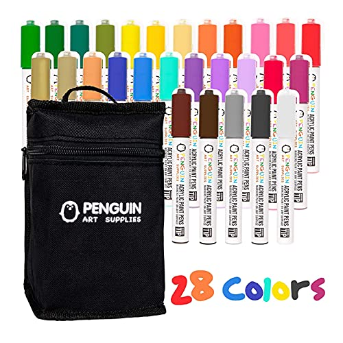 28 Dual Tip Acrylic Paint Pens: Craft Paint Markers for Painting Wood, Glass, Rock, Ceramic, Porcelain - Non Toxic Reversible Paint Pen with Thick 5mm Tip and 3mm Fine Tip - 28 Pens with Zipper Pouch