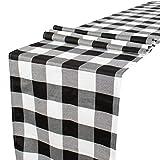 Camino de mesa Buffalo Check Camino de mesa de 35,5 x 222,8 cm, color blanco y negro a cuadros, camino de mesa bordado, para decoración de fiestas al aire libre, superposición de mesa