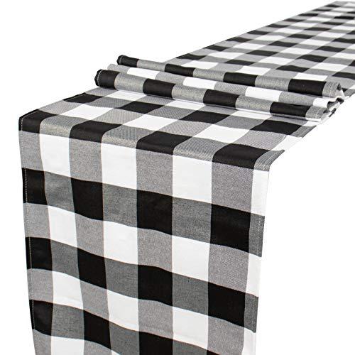 Camino de mesa a cuadros de búfalo en blanco y negro de...