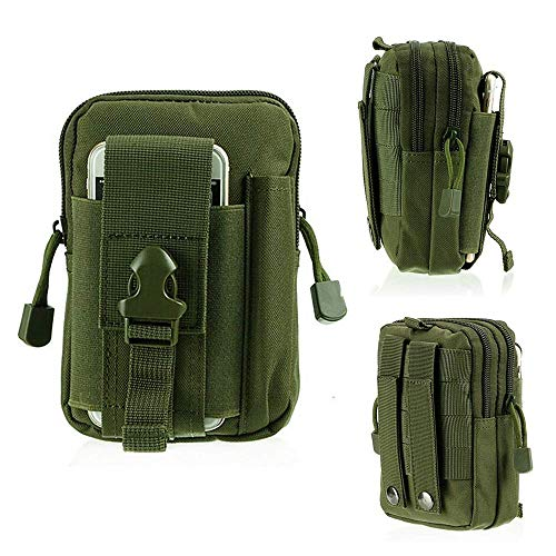 Haoyipu Tactical Molle Pouch Compact EDC Utility Gadget Belt Waist Bag with Cell Phone Holster Holder for iPhone 6/6S 7/7 Plus 8/8 Plus Samsung Note 2 3 4 (Green)