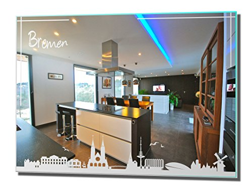 NiTec Olbernhau Motivspiegel Skyline Bremen Silhouette Spiegel mit Gravur Deko Wandbild (30x40cm)