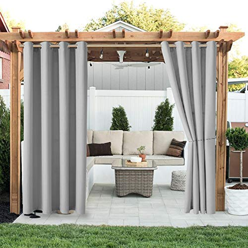 home patio curtains LORDTEX Linen Look Indoor/Outdoor Curtains, 52 x 84 Inch, Light Grey – Waterproof, Privacy, Sun Blocking Textured Grommet Curtains for Patio, Pergola, Porch, Deck, Lanai, and Cabana, Set of 2 Panels