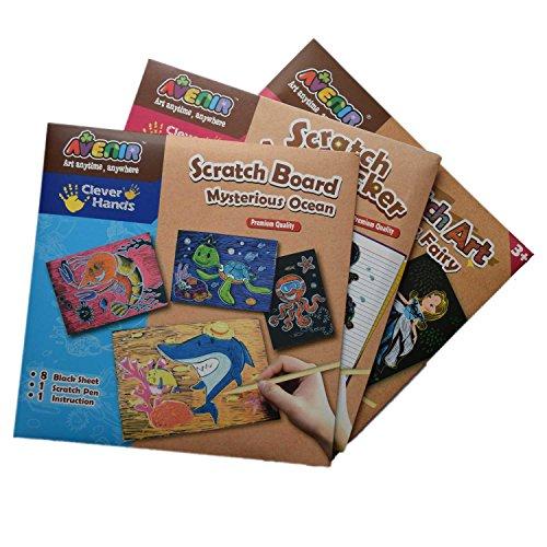 Scratch Art krasafbeeldingen in regenboogkleuren voor kinderen om te schilderen en te tekenen, set van 3 T-shirts, inclusief krasstrip en handleiding (mogelijk niet beschikbaar in het Nederlands).