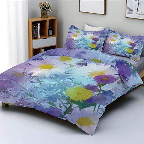 Juego de funda nórdica, fragancia de flores vintage en colores pastel, estampado de flores de floración natural, juego de cama decorativo de 3 piezas con 2 fundas de almohadas, múltiples, el mejor reg