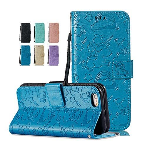 Funda iPhone 6S Plus 6 Plus Unicornio Azul Premium PU Cuero con Iman Cierre Tarjetero Libro Silicona TPU Gel Bumper Shell Cover 360 Grados Protección Inquebrantable para Mujer Chica