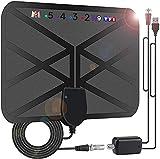 Antenne TV Intérieur Puissante, 36DBI 200 km d'autonomie Antenne TNT Intérieure Signal Amplificateur Booster avec 4.2m câble coaxial-VHF/UHF/FM, Soutenir TV HD