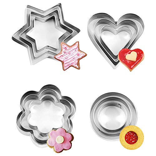 12 Pcs Cookie Cutter Set, Mini Stainless Steel Geometric Cookie Cutters...