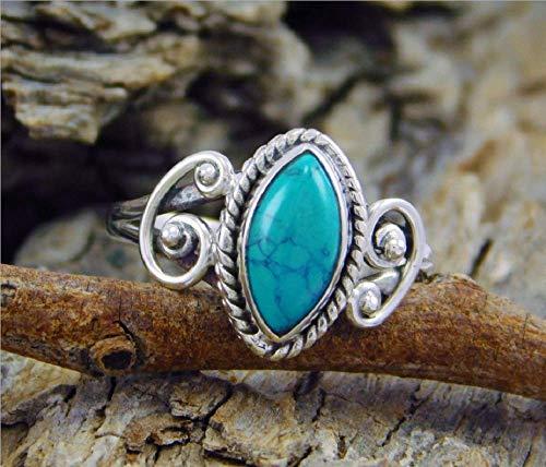 Anillo de dedo turquesa de corte envejecido para mujer, hombre, ovalado, turquesa, tallado, anillo de piedra lunar turquesa, joyería de boda tamaño 6 – 10