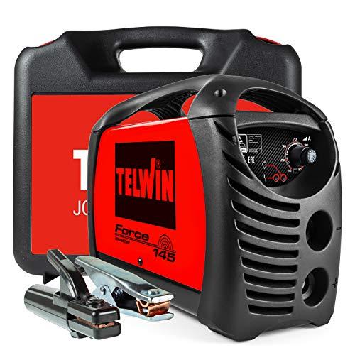 Telwin 815856 Force 145 Saldatrice Inverter ad Elettrodo Completa di Accessori in Valigetta, 230 V, Rosso, Force 145 in valigetta