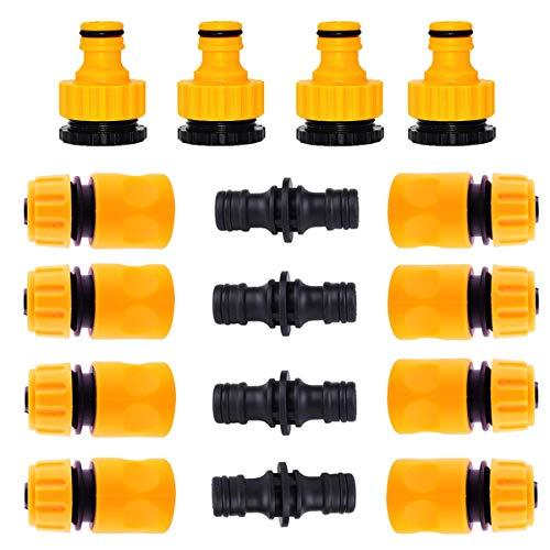 mengger raccordi per Tubo da Giardino in plastica Tubi connettori Maschi 16 Pezzi Tubi con Attacco rapido da 1/2 Quick Connect Acqua Connettore per Irrigazione e Giardino Giunzione