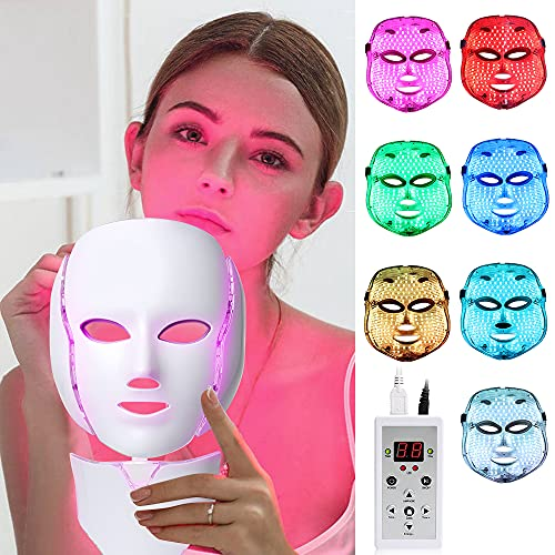 LED Face Mâsk Light Therapy - 7 LED Light Photon Face Mâsk For Skin Rejuvenation Collagen Tighten and Lift Skin Anti Aging Wrinkles Daily Facial Care