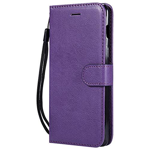 Hülle für OnePlus 6 Handyhülle Schutzhülle Leder PU Wallet Bumper Lederhülle Ledertasche Klapphülle Klappbar Magnetisch für OnePlus6 - ZIKT051508 Violett