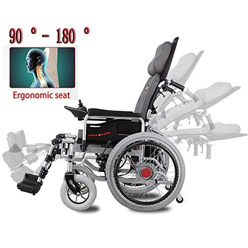 LAYG Elektrischer Rollstuhl Multifunktionsfalte Elektrorollstuhl Autoälterer Elektrorollstühle und Roller mit Großen Rädern,Sitzbreite 46Cm Elektro-Rollstuhl / 12AH