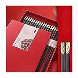 FENGJIE Palillos de la aleación Creativa 10 Pares Set, japonés Antideslizante Palillos, Adecuado for familias, hoteles, Vajilla de Asia (Color : A)