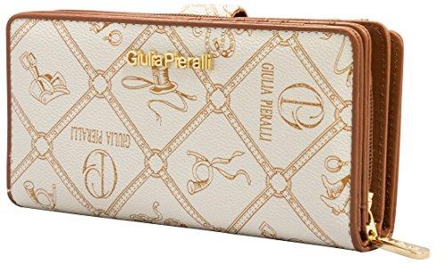 Giulia Pieralli Glamour Damen Portmonee 5003 Frauen Portemonnaie Geldbeutel Geldbörse hochwertige Verarbeitung in Kunst Leder (Creme)