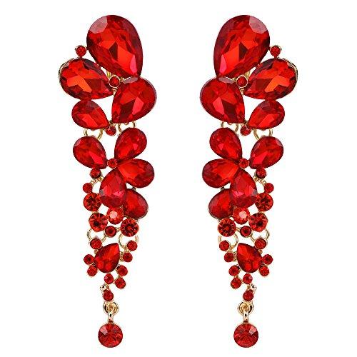 EVER FAITH Mujer Cristal Elegante Gota de Agua Cierre de Clip Pendientes Rojo Tono Dorado