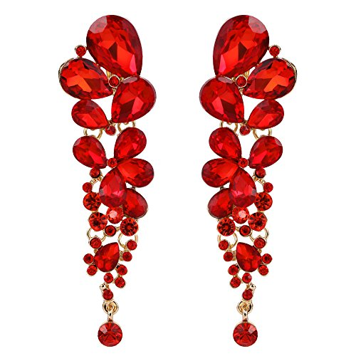 EVER FAITH Rhinestone Crystal Elegant Waterdrop Bridal Feast Dangle Clip-on Earrings Red Gold-Tone