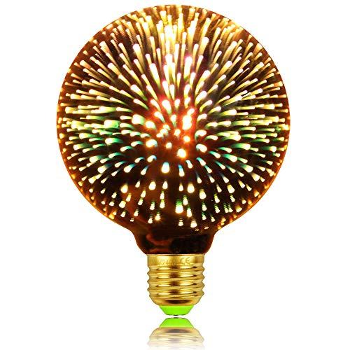 LightingDesigner Klassische Edison 3D-Glühbirne mit Feuerwerk-Optik, LED-Lichtquelle, AC85-240 V, E27, dekorative Glühbirne, Goldfarben, G95