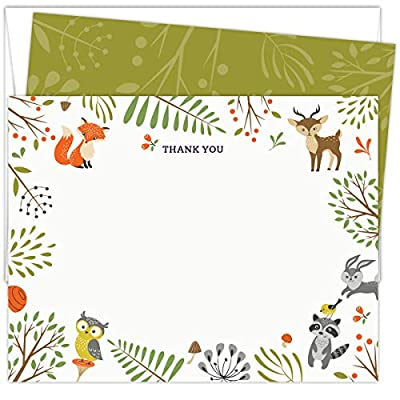 """Woodland Animals Baby Shower Thank You Cards. Set of 25 5.5"""" x 4.25"""" Flat Note Cards and A2 White Envelopes. Printed on Heavy Card Stock. from Koko Paper Co"""