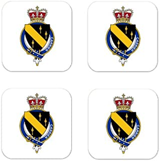 Carrier England Family Crest Square Coasters Coat of Arms Coasters - Set of 4