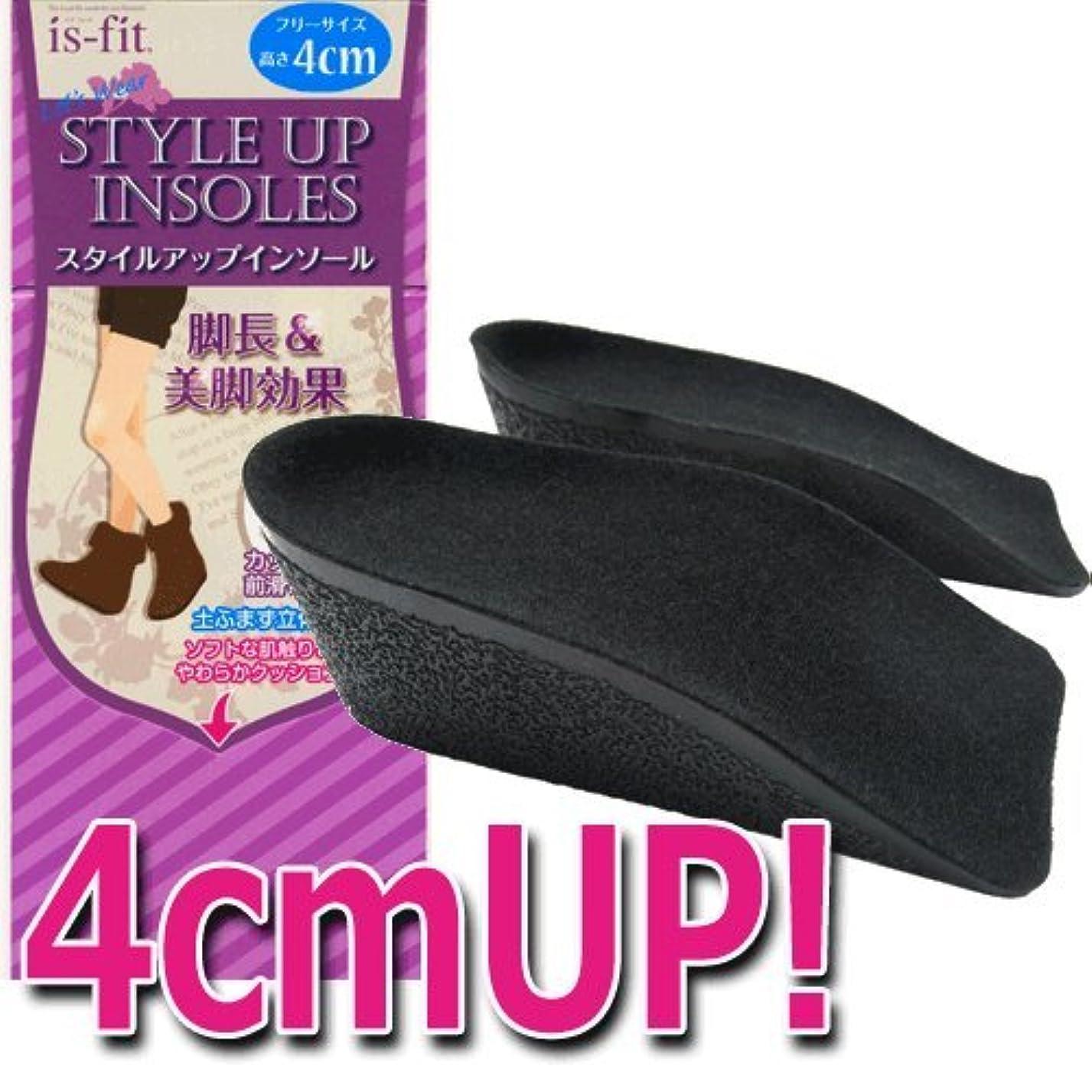 染色ラッチイライラするモリト is-fit(イズフィット) スタイルアップインソール 4cm 女性用 フリーサイズ ブラック