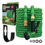Ramsware Smart Expandable Garden Hose 100FT - Flexible Water Hoses - Lightweight Expanding 100 FT Magic Hose - No Kink - Expands & Contracts - Long & Compact Durable Latex