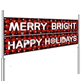 Whaline 2pcs Christmas Banner Decorations Xmas Plaid Garland Bunting Merry Bright Happy Holiday Banner Hanging Sign for Fireplace Indoor Outdoor Garden Yard Decor Party Supplies