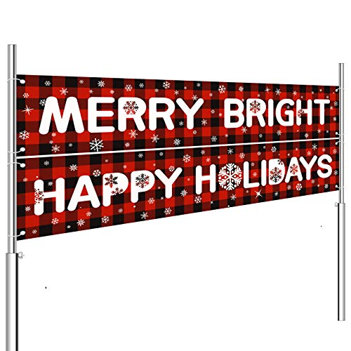 Whaline 2pcs Christmas Banner Decorations Xmas Red Garland Merry Bright Happy Holiday Banner Plaid Hanging Sign for Fireplace Indoor Outdoor Garden Yard Decor Party Supplies