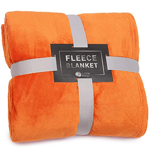 GREEN ORANGE Throw Blanket for Couch - 50'x60', Lightweight, Flannel Orange - Soft, Plush, Fluffy, Warm, Cozy - Perfect for Bed, Sofa