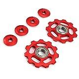CDKJ 2 x Bike 11T Aluminio Sellado Teniendo poleas de Cambio Trasero Jockey Wheel(Rojo)...