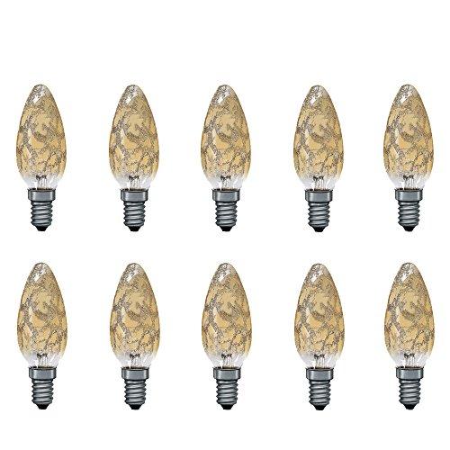 10 x Paulmann Kerze Krokoeis Gold 25W E14 Kerzen 25 Watt Glühbirnen Glühlampen 562.20