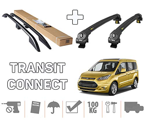 Crown Remanufacturing to fit Ford Transit/Tourneo Connect LWB Roof Rails+Cross Bars Full Set 2014+ (Silver)