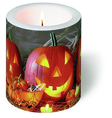 Kaars rond Pumpkin King - Halloween-pompoen Ø 9cm, hoogte 10cm